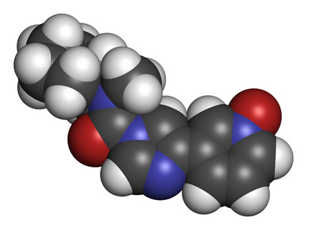 BIA 10-2474 experimental drug molecule. Fatty acid amide hydrolase (FAAH) inhibitor that caused severe adverse events in a clinical trial in France in 2016. 3D rendering. Atoms are represented as spheres with conventional color coding: hydrogen (white), c
