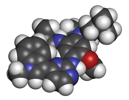 pharma: Osimertinib cancer drug molecule. 3D rendering. Atoms are represented as spheres with conventional color coding: hydrogen (white), carbon (grey), oxygen (red), nitrogen (blue). Stock Photo