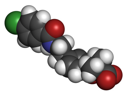 hydrogen: Bezafibrate hyperlipidemia drug molecule (fibrate class). 3D rendering. Atoms are represented as spheres with conventional color coding: hydrogen (white), carbon (grey), nitrogen (blue), oxygen (red), chlorine (green).