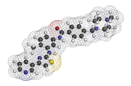mast cell: Masitinib cancer drug molecule. 3D rendering. Atoms are represented as spheres with conventional color coding: hydrogen (white), carbon (grey), oxygen (red), nitrogen (blue), sulfur (yellow).