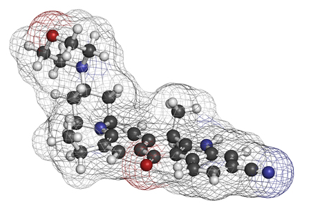 hydrogen: Alectinib cancer drug molecule. 3D rendering. Atoms are represented as spheres with conventional color coding: hydrogen (white), carbon (grey), nitrogen (blue), oxygen (red).