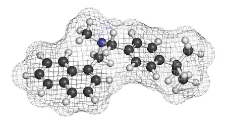 candida: Butenafine antifungal drug molecule. 3D rendering. Atoms are represented as spheres with conventional color coding: hydrogen (white), carbon (grey), nitrogen (blue).