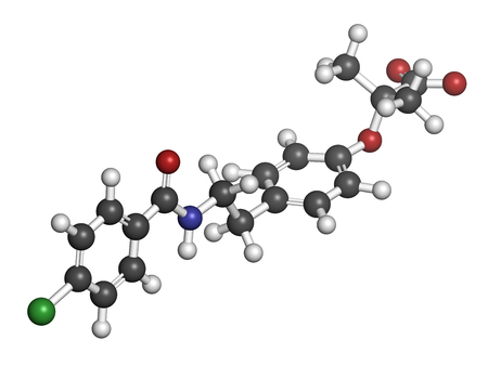 Bezafibrate hyperlipidemia drug molecule (fibrate class). 3D rendering. Atoms are represented as spheres with conventional color coding: hydrogen (white), carbon (grey), nitrogen (blue), oxygen (red), chlorine (green).