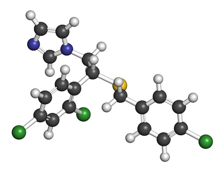 3d nitrogen: Sulconazole antifungal drug molecule. 3D rendering. Atoms are represented as spheres with conventional color coding: hydrogen (white), carbon (grey), nitrogen (blue), chlorine (green), sulfur (yellow). Stock Photo