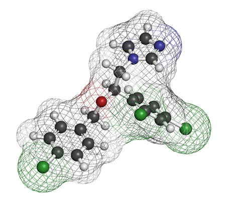 hydrogen: Econazole antifungal drug molecule. 3D rendering. Atoms are represented as spheres with conventional color coding: hydrogen (white), carbon (grey), nitrogen (blue), oxygen (red), chlorine (green).