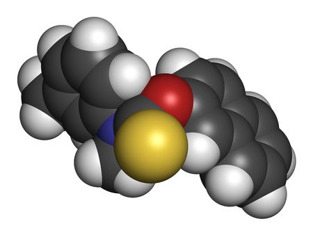 sulfur: Tolnaftate antifungal drug molecule. 3D rendering. Atoms are represented as spheres with conventional color coding: hydrogen (white), carbon (grey), nitrogen (blue), oxygen (red), sulfur (yellow).