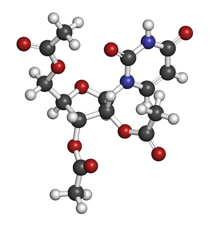 overdose: Uridine triacetate drug molecule. Used as antidote to treat chemotherapy overdoses. 3D rendering. Atoms are represented as spheres with conventional color coding: hydrogen (white), carbon (grey), nitrogen (blue), oxygen (red).