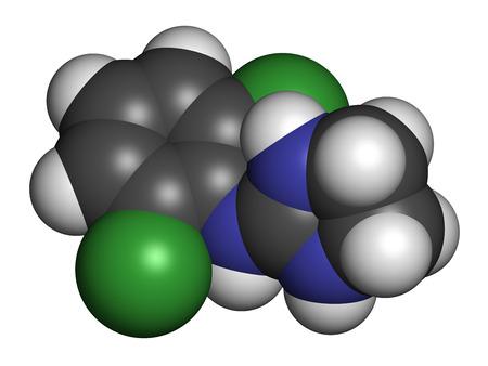 hipertension: molécula del fármaco clonidina. Se utiliza en el tratamiento del TDAH, hipertensión, migraña, trastornos de ansiedad, etc. representación 3D. Los átomos se representan como esferas con codificación de colores convencionales: hidrógeno (blanco), carbono (gris), nitrógeno (azul), cloro (verde).
