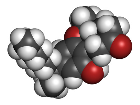 Nabilone antiemetic drug molecule. Analog of Cannabis compound THC. 3D rendering. Atoms are represented as spheres with conventional color coding: hydrogen (white), carbon (grey), oxygen (red). Stock Photo