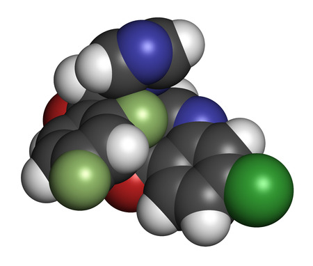 fluorine: Albaconazole antifungal drug molecule. 3D rendering. Atoms are represented as spheres with conventional color coding: hydrogen (white), carbon (grey), nitrogen (blue), oxygen (red), chlorine (green), sulfur (yellow), fluorine (light green).