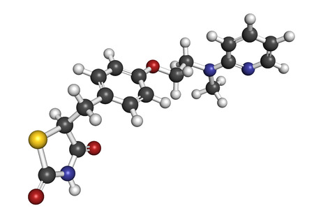 endocrinology: Rosiglitazone diabetes drug molecule. 3D rendering. Atoms are represented as spheres with conventional color coding: hydrogen (white), carbon (grey), nitrogen (blue), oxygen (red), sulfur (yellow). Stock Photo