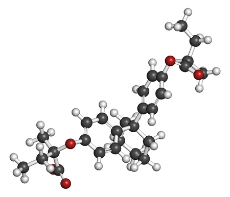 Clinofibrate hyperlipidemia drug molecule (fibrate class). 3D rendering. Atoms are represented as spheres with conventional color coding: hydrogen (white), carbon (grey), oxygen (red).