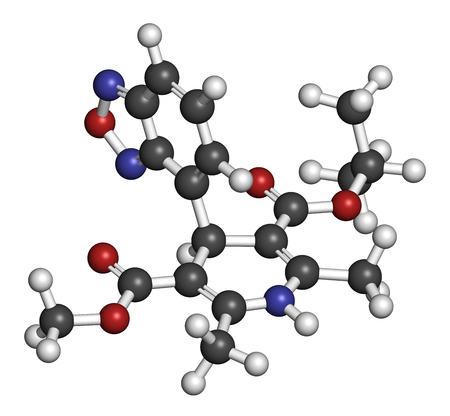 nitrogen: Isradipine hypertension drug molecule. 3D rendering. Atoms are represented as spheres with conventional color coding: hydrogen (white), carbon (grey), oxygen (red), nitrogen (blue).