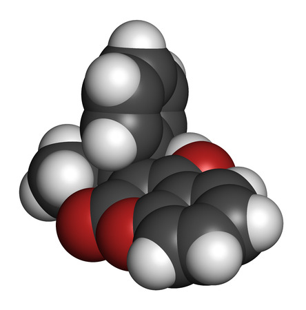 thrombus: Phenprocoumon anticoagulant drug molecule (vitamin K antagonist). 3D rendering. Atoms are represented as spheres with conventional color coding: hydrogen (white), carbon (grey), oxygen (red).