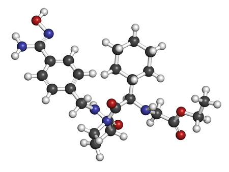 hydrogen: Ximelagatran anticoagulant drug molecule (direct thrombin inhibitor). 3D rendering. Atoms are represented as spheres with conventional color coding: hydrogen (white), carbon (grey), nitrogen (blue), oxygen (red). Stock Photo