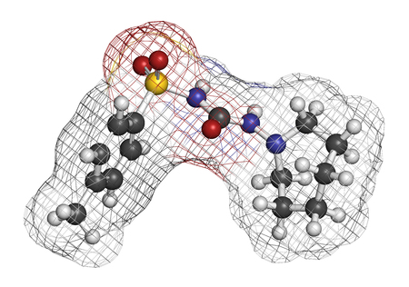 sulfur: Tolazamide diabetes drug molecule. 3D rendering. Atoms are represented as spheres with conventional color coding: hydrogen (white), carbon (grey), nitrogen (blue), oxygen (red), sulfur (yellow). Stock Photo