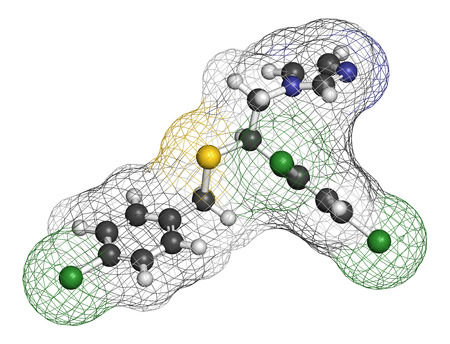 itch: Sulconazole antifungal drug molecule. 3D rendering. Atoms are represented as spheres with conventional color coding: hydrogen (white), carbon (grey), nitrogen (blue), chlorine (green), sulfur (yellow). Stock Photo