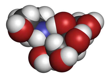 endocrinology: Voglibose diabetes drug molecule. 3D rendering. Atoms are represented as spheres with conventional color coding: hydrogen (white), carbon (grey), nitrogen (blue), oxygen (red).