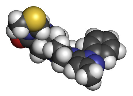 3d nitrogen: Teneligliptin diabetes drug molecule. 3D rendering. Atoms are represented as spheres with conventional color coding: hydrogen (white), carbon (grey), nitrogen (blue), oxygen (red), sulfur (yellow).