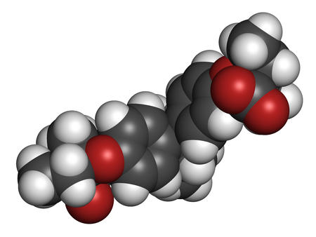 lipid a: Clinofibrate hyperlipidemia drug molecule (fibrate class). 3D rendering. Atoms are represented as spheres with conventional color coding: hydrogen (white), carbon (grey), oxygen (red).