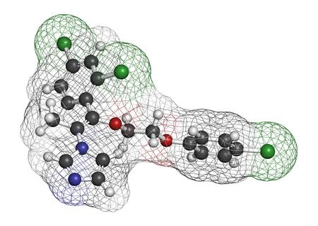 3d nitrogen: Omoconazole antifungal drug molecule. 3D rendering. Atoms are represented as spheres with conventional color coding: hydrogen (white), carbon (grey), nitrogen (blue), oxygen (red), chlorine (green). Stock Photo