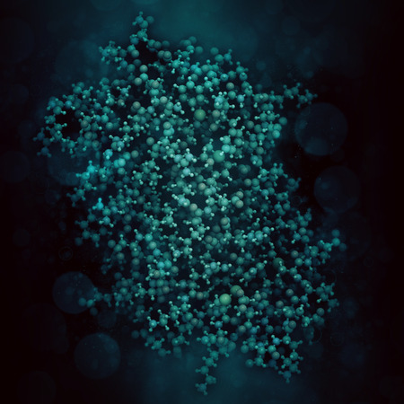 immunotherapy: Interleukin 6 (IL-6) cytokine and myokine protein. Anti-IL-6 antibodies are used in treatment of arthritis. 3D illustration. Atoms shown as color coded spheres. Per chain coloring. Stock Photo