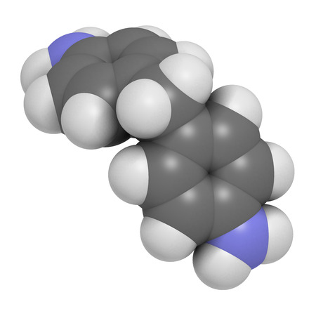 4,4-methylenedianiline (methylenedianiline, MDA) molecule. 3D rendering.  Suspected carcinogen, on the list of substances of very high concern. Used in polyurethane production. Atoms are represented as spheres with conventional color coding: hydrogen (wh