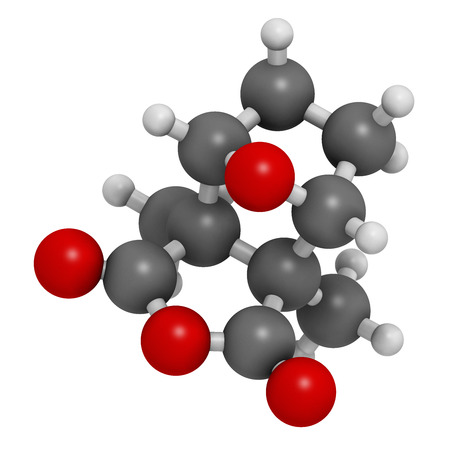 blisters: Cantharidin blister beetle poison molecule. 3D rendering.  Secreted by blister beetles, spanish fly, soldier beetles, etc. Atoms are represented as spheres with conventional color coding: hydrogen (white), carbon (grey), oxygen (red).