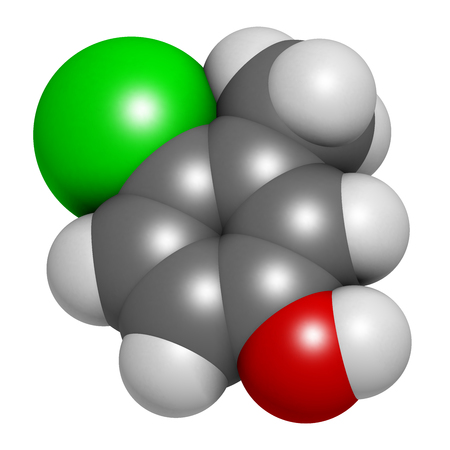 preservative: Chlorocresol (p-chlorocresol) antiseptic and preservative molecule. 3D rendering.  Atoms are represented as spheres with conventional color coding: hydrogen (white), carbon (grey), oxygen (red), chlorine (green).