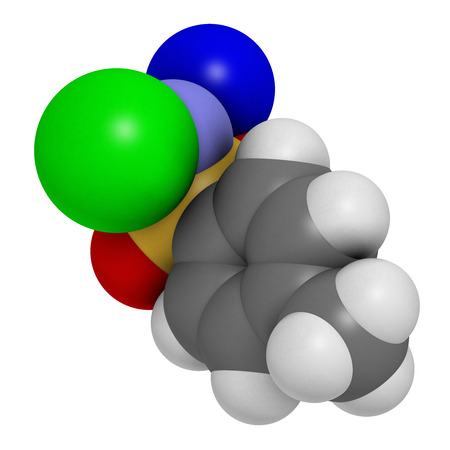 disinfectant: Chloramine-T (tosylchloramide) disinfectant molecule. 3D rendering.  Atoms are represented as spheres with conventional color coding: hydrogen (white), carbon (grey), oxygen (red), nitrogen (blue), chlorine (green), sodium (blue).