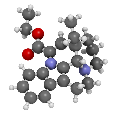 nitrogen: Vinpocetine molecule. 3D rendering.  Semisynthetic vinca alkaloid derivative, used as drug and as dietary supplement.  Atoms are represented as spheres with conventional color coding: hydrogen (white), carbon (grey), oxygen (red), nitrogen (blue). Stock Photo