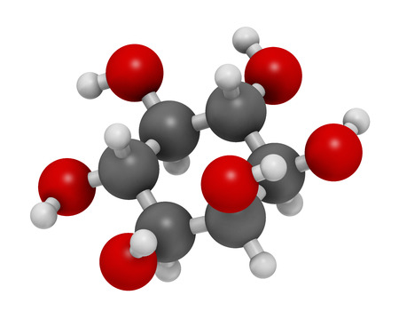 hydrogen bomb: inositol (myo-inositol) molecule. 3D rendering.  Inositol and its phosphates play essential roles in a number of biological processes. Atoms are represented as spheres with conventional color coding: hydrogen (white), carbon (grey), oxygen (red).
