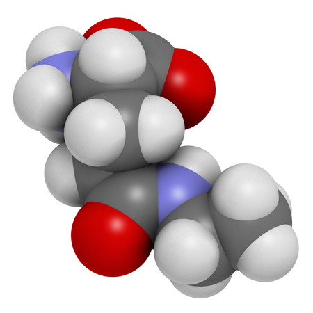 glutamate: Theanine herbal molecule. 3D rendering.  Constituent of tea prepared from Camellia sinensis. Also taken as nutritional supplement.  Atoms are represented as spheres with conventional color coding: hydrogen (white), carbon (grey), oxygen (red), nitrogen (b