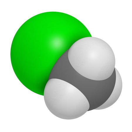 hidrogeno: El clorometano (cloruro de metilo) mol�cula. representaci�n 3D. Los �tomos se representan como esferas con codificaci�n de colores convencionales: hidr�geno (blanco), carbono (gris), cloro (verde).