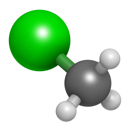 refrigerant: Chloromethane (methyl chloride) molecule. 3D rendering.  Atoms are represented as spheres with conventional color coding: hydrogen (white), carbon (grey), chlorine (green).