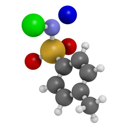 desinfectante: Cloramina-T (tosilcloramida) molécula desinfectante. representación 3D. Los átomos se representan como esferas con codificación de colores convencionales: hidrógeno (blanco), carbono (gris), oxígeno (rojo), nitrógeno (azul), cloro (verde), sodio (azul).