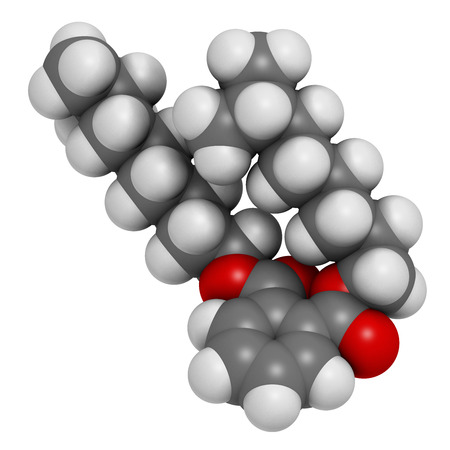 Diisononyl phthalate (DINP) plasticizer molecule. 3D rendering.  Atoms are represented as spheres with conventional color coding: hydrogen (white), carbon (grey), oxygen (red). Stock Photo