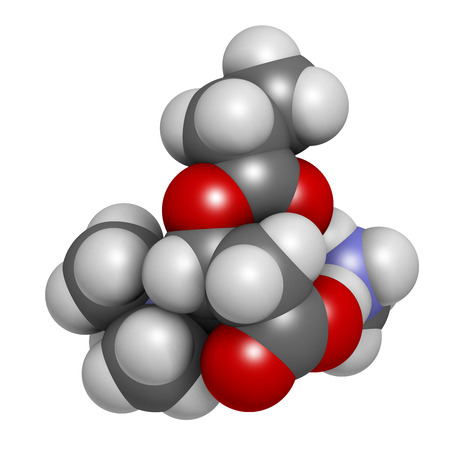 nutritional: GPLC (glycine propionyl-L-carnitine) nutritional supplement molecule. 3D rendering.    Atoms are represented as spheres with conventional color coding: hydrogen (white), carbon (grey), oxygen (red), nitrogen (blue). Stock Photo