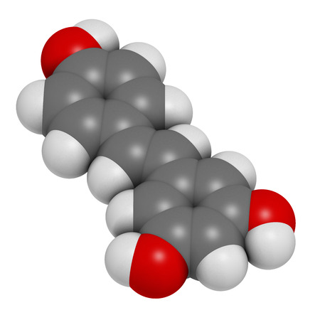 Resveratrol molecule. 3D rendering.  Present in many plants, including grapes and raspberries. Believed to have a number of positive health effects. Atoms are represented as spheres with conventional color coding: hydrogen (white), carbon (grey), oxygen ( Фото со стока