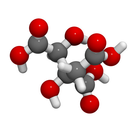 nutritional: Hydroxycitric acid  (HCA, hydroxycitrate) molecule. 3D rendering.  Used as weight loss nutritional supplement.  Atoms are represented as spheres with conventional color coding: hydrogen (white), carbon (grey), oxygen (red).