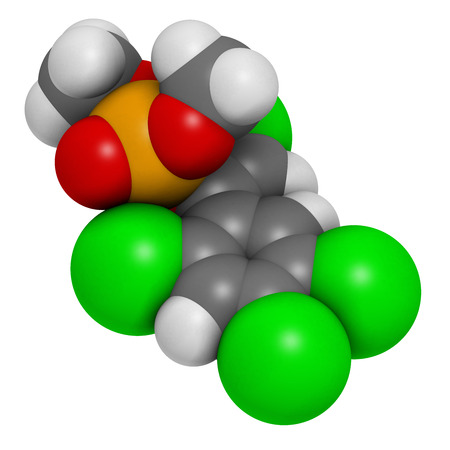 phosphorus: Tetrachlorvinphos organophosphate insecticide molecule. 3D rendering.  Atoms are represented as spheres with conventional color coding: hydrogen (white), carbon (grey), oxygen (red), chlorine (green), phosphorus (orange). Stock Photo
