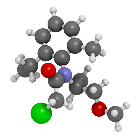 carcinogenic: Metolachlor herbicide (weed killer) molecule. 3D rendering.  Atoms are represented as spheres with conventional color coding: hydrogen (white), carbon (grey), oxygen (red), nitrogen (blue), chlorine (green).