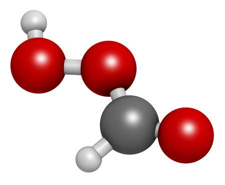 disinfectant: �cido perf�rmico (PFA) mol�cula desinfectante. representaci�n 3D. Se utiliza como desinfectante y esterilizador. Los �tomos se representan como esferas con codificaci�n de colores convencionales: hidr�geno (blanco), carbono (gris), ox�geno (rojo). Foto de archivo