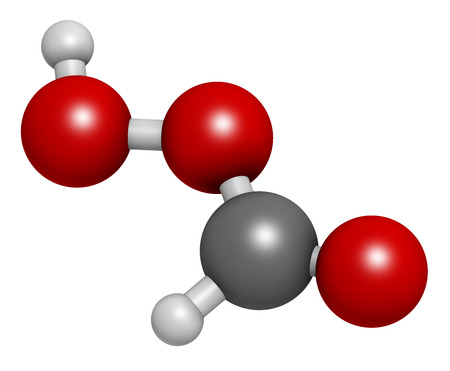 desinfectante: Performic acid (PFA) disinfectant molecule. 3D rendering.  Used as disinfectant and sterilizer. Atoms are represented as spheres with conventional color coding: hydrogen (white), carbon (grey), oxygen (red).