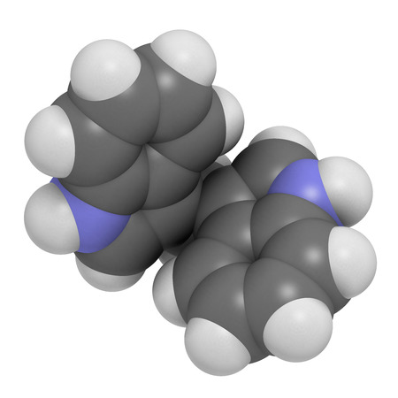 cruciferous: Diindolylmethane (3,3-DIM, DIM) molecule. 3D rendering.  Derivative of indole-3-carbinol, found in broccoli, cabbage, kale, etc. May have cancer preventive or anticancer effects. Atoms are represented as spheres with conventional color coding: hydrogen ( Stock Photo