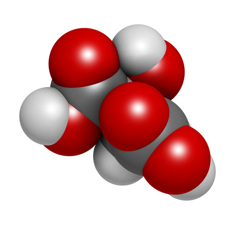 contributes: Malic acid fruit acid molecule. 3D rendering.  Present in apples, grapes, rhubarb, etc and contributes to the sour taste of these. Atoms are represented as spheres with conventional color coding: hydrogen (white), carbon (grey), oxygen (red). Stock Photo