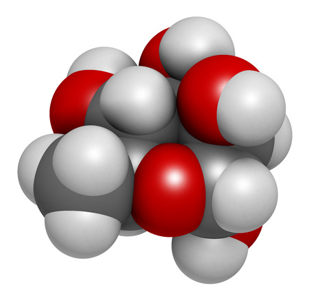hydrogen: Rhamnose (L-rhamnose) deoxy sugar molecule. 3D rendering.  Used in cosmetics to treat wrinkles. Atoms are represented as spheres with conventional color coding: hydrogen (white), carbon (grey), oxygen (red).
