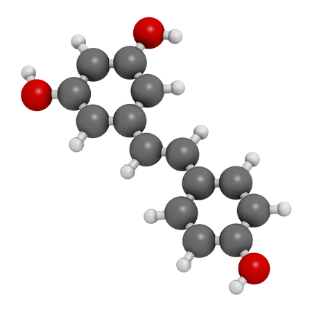 Resveratrol molecule. 3D rendering.  Present in many plants, including grapes and raspberries. Believed to have a number of positive health effects. Atoms are represented as spheres with conventional color coding: hydrogen (white), carbon (grey), oxygen ( Foto de archivo