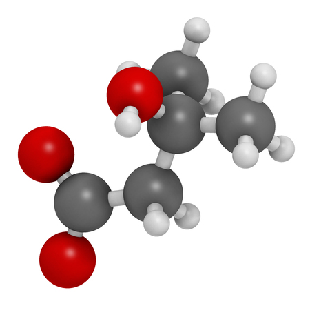alfalfa: Beta-hydroxy beta-methylbutyric acid (HMB) leucine metabolite molecule. 3D rendering.  Used as supplement, may increase strength and muscle mass. Atoms are represented as spheres with conventional color coding: hydrogen (white), carbon (grey), oxygen (red