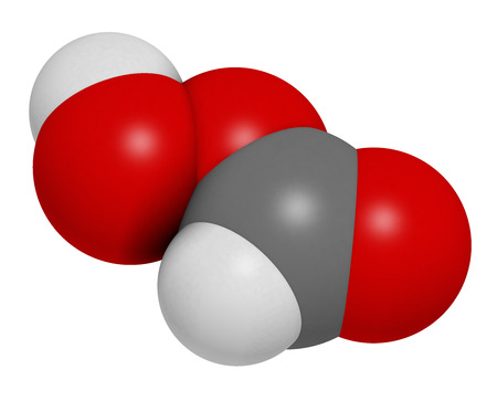 desinfectante: ácido perfórmico (PFA) molécula desinfectante. representación 3D. Se utiliza como desinfectante y esterilizador. Los átomos se representan como esferas con codificación de colores convencionales: hidrógeno (blanco), carbono (gris), oxígeno (rojo). Foto de archivo
